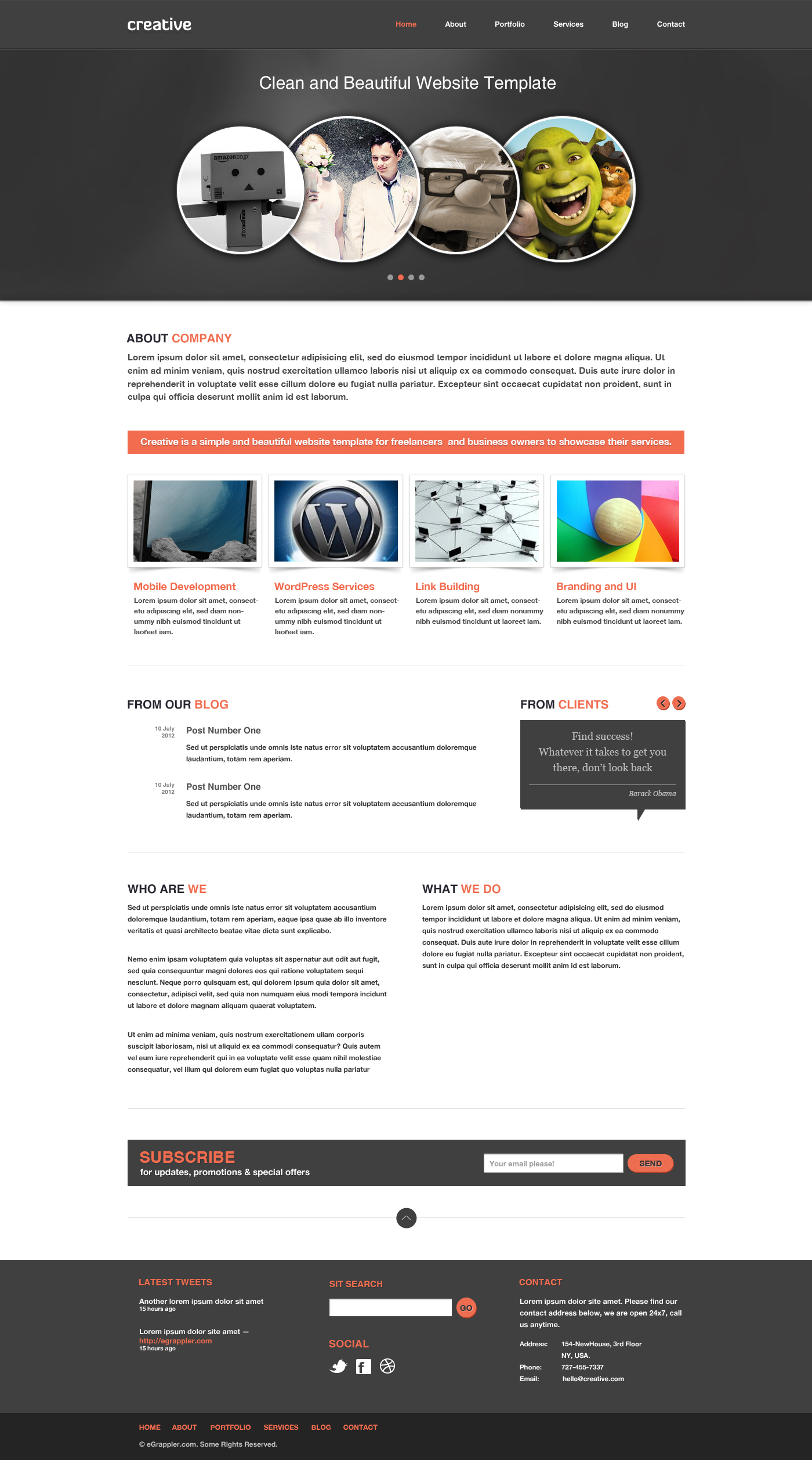Free business portfolio website psd template creative An website