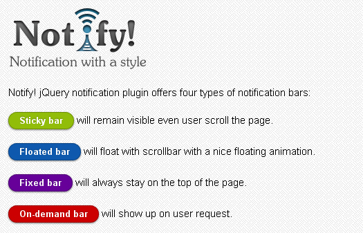 jquery-notification-and-message-bar-plugin