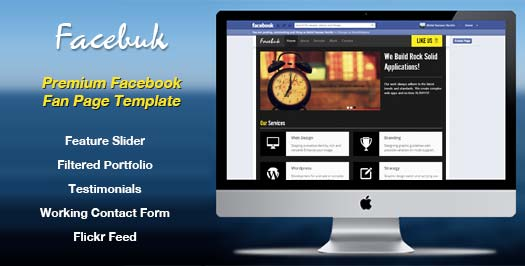Free Professional HTML5 Facebook Template Facebuk