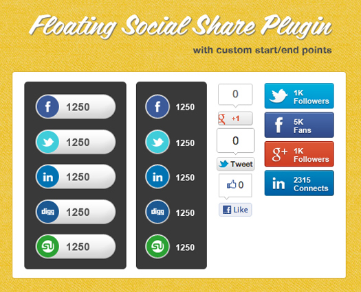 jQuery Floating Social Share Plugin floatShare
