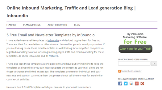 5 Free Email and Newsletter Templates by inBoundio