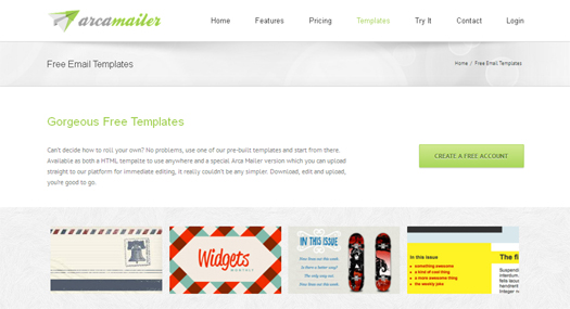 Gorgeous Free Email Templates by Arca Mailer