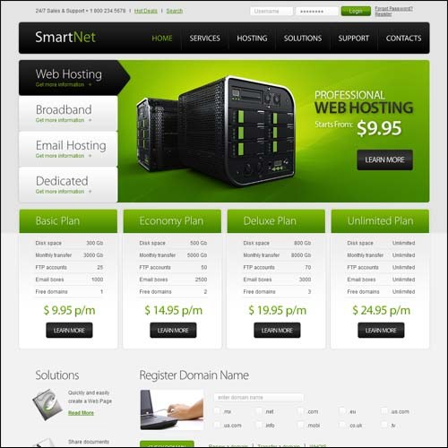 Free Hosting Template. free website template for hosting company ...