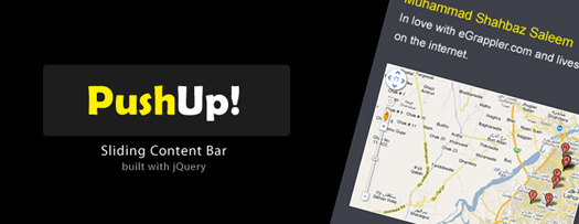 jQuery PushUp Content Bar Plugin