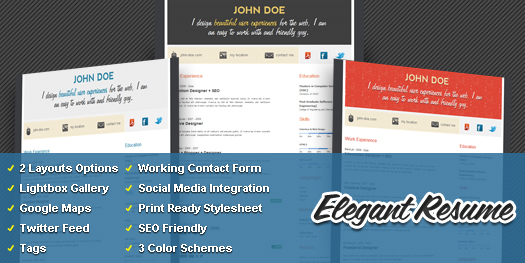 Free WordPress Resume Theme: Elegant Resume