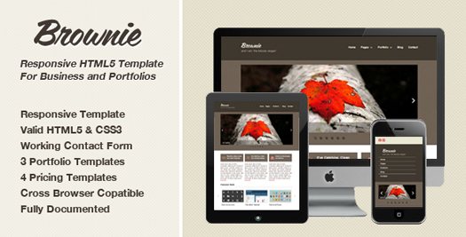 Free responsive html5 portfolio enterprise website template brownie responsive html5 template flashek Choice Image