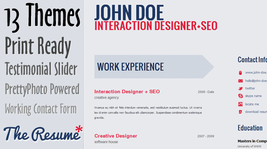 Free Skilled HTML5 CV Resume Template The