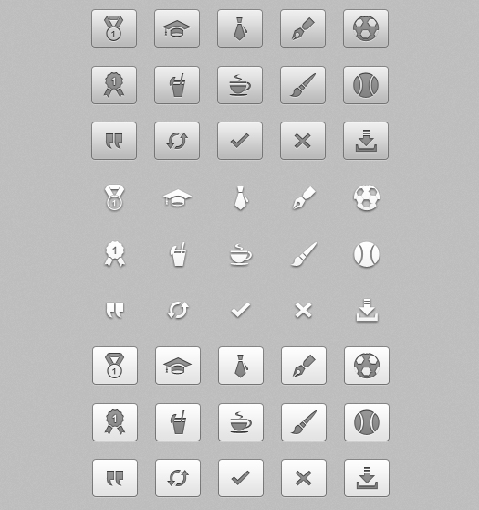 High quality free vector icons set in psd fromat