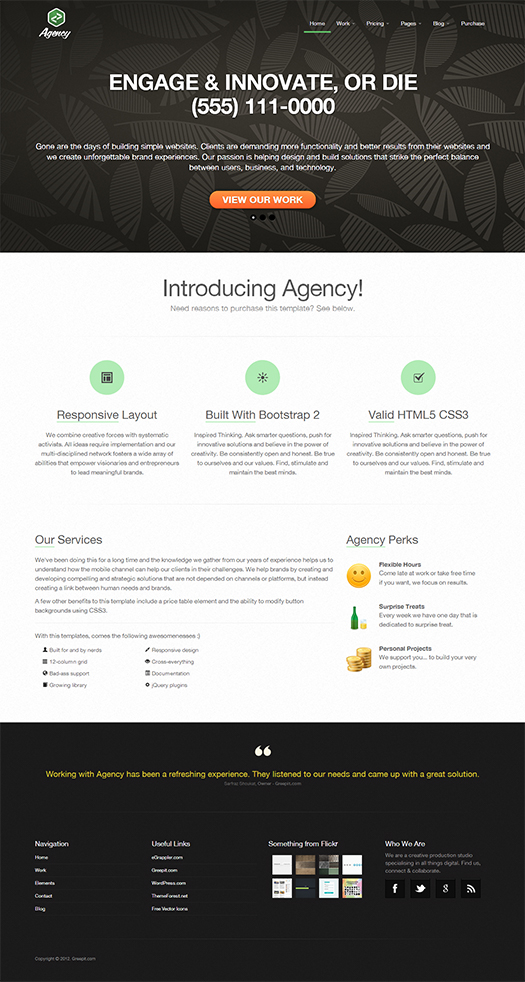 Responsive Enterprise Portfolio Template Landing Page