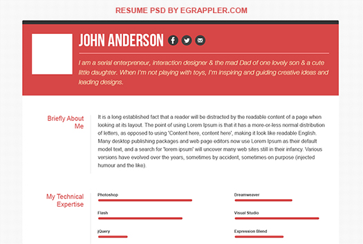 Responsive HTML5/CSS3 Resume Template