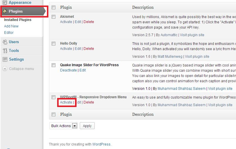 installing WordPress Plugin Step 1