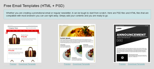 free email templates htmlpsd source files - Free Email Newsletter Templates