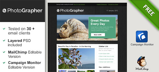 100 free responsive html e mail e newsletter templates egrappler free html email template for photographer spiritdancerdesigns Gallery