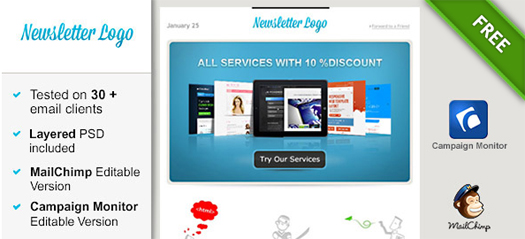 100 free responsive html e mail e newsletter templates egrappler simple email template spiritdancerdesigns Gallery