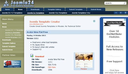 Avatar Nine Flat Free Joomla Template