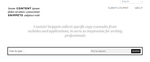 Copy Examples from Websites and Applications for Writing Professionals - Content Snippets