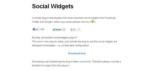 Facebook, Twitter & Google+ Social Widgets