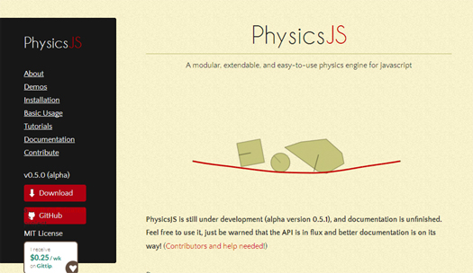 Modular Physics Engine for JavaScript - PhysicsJS