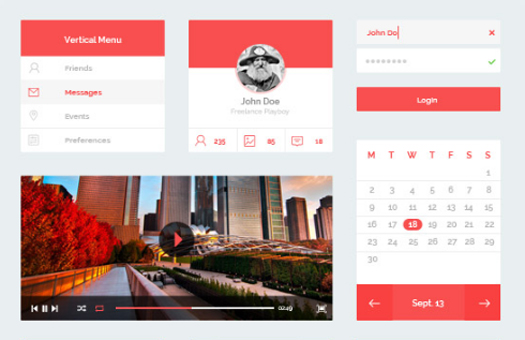 Red Flat UI Kit