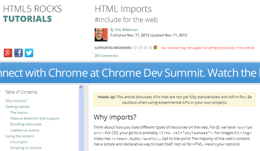 HTML Imports - Include HTML Documents in Other HTML Documents