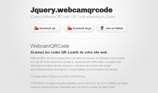 QR Code Scanning in jQuery - WebcamQRCode