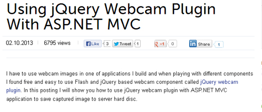 Using jQuery Webcam Plugin With ASP.NET MVC