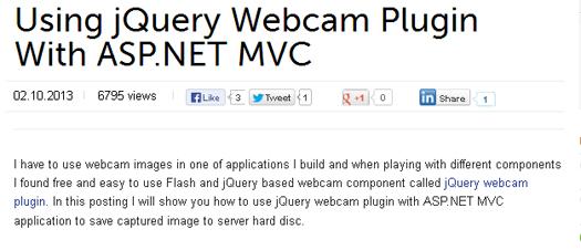 Using jQuery Webcam Plugin With ASP.NET MVC