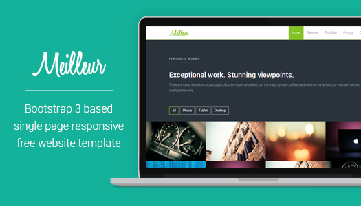 one page free html css website template  bootstrap 3