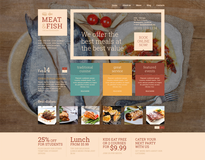 Meat Fish Restaurant WordPress Theme