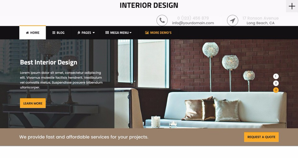 20 best wordpress themes for interior designers 2017 Interior decorating websites