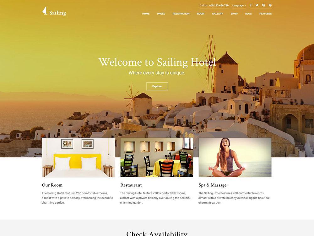 Sailing Best WordPress Theme for Hostels