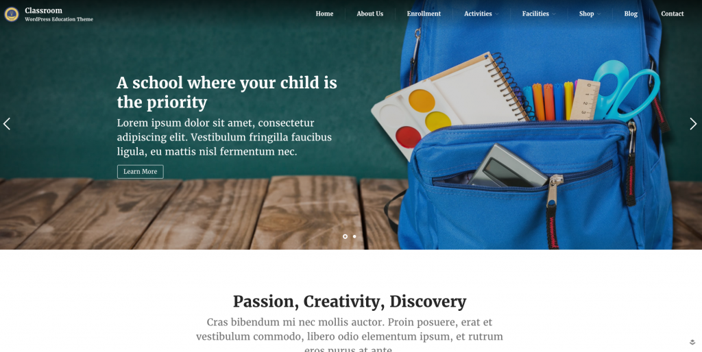 Classroom_Wordpress_theme
