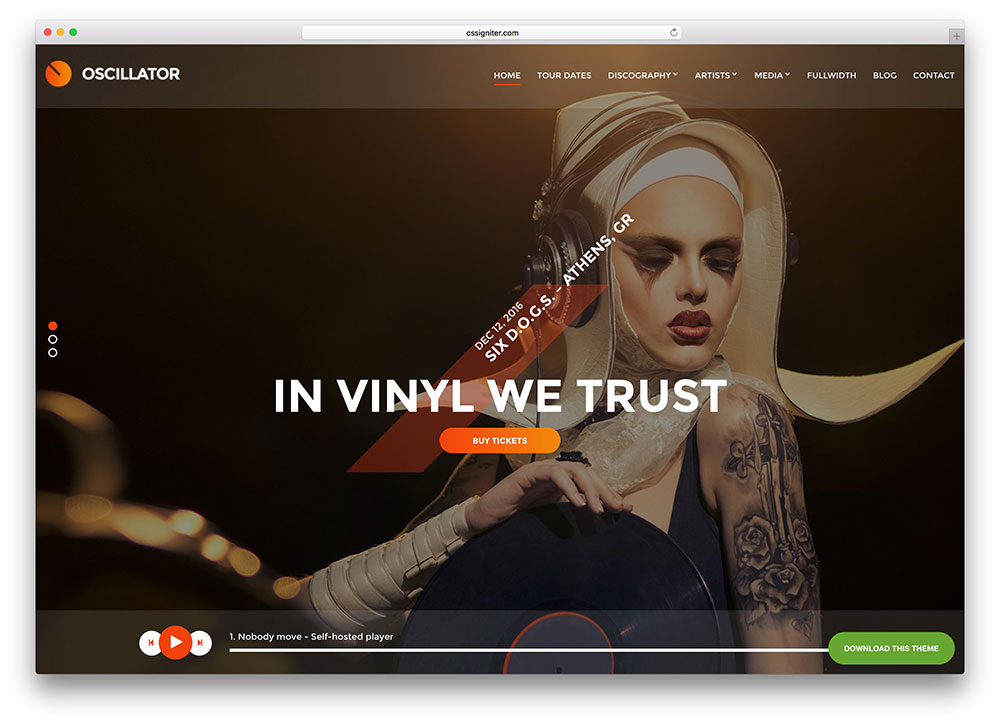 Oscillator wordpress theme for jazz musicians