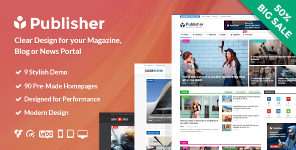 Publisher Magazine, Blog, Newspaper, and Review WordPress Theme