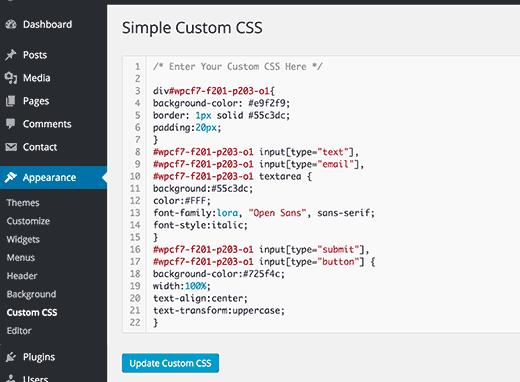 CSS customization
