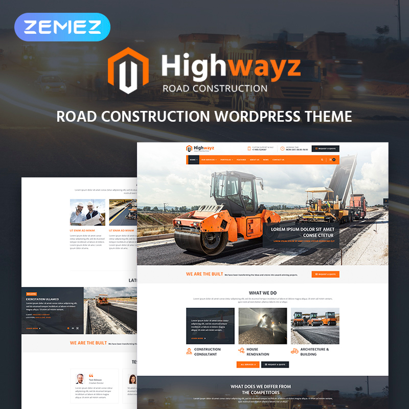 Highwayz - Road Construction WordPress Theme