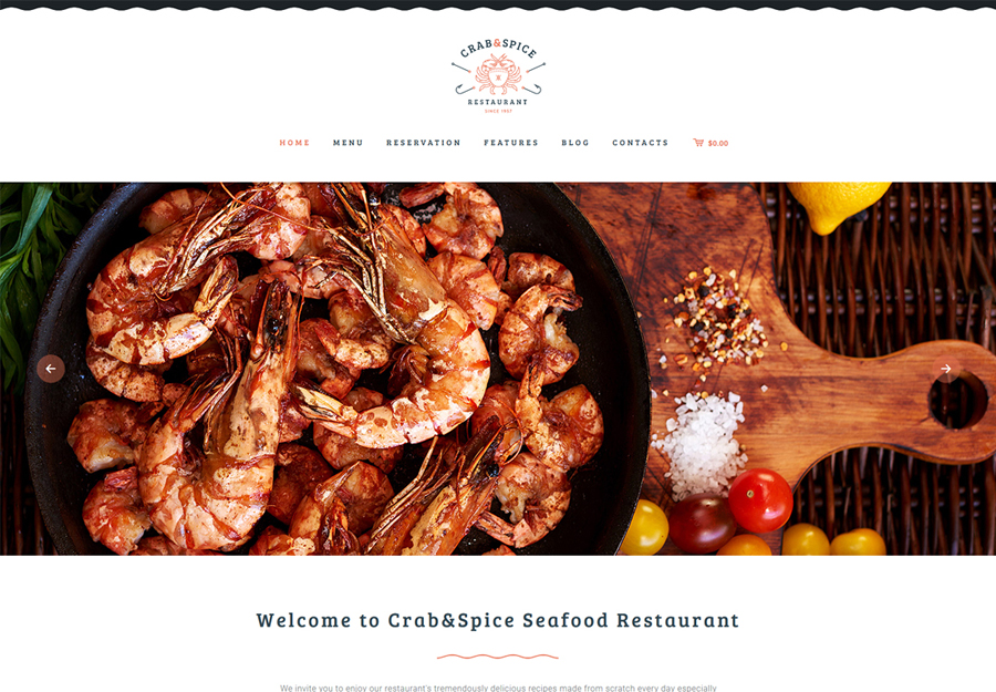 Crab & Spice | Restaurant and Cafe WordPress Theme
