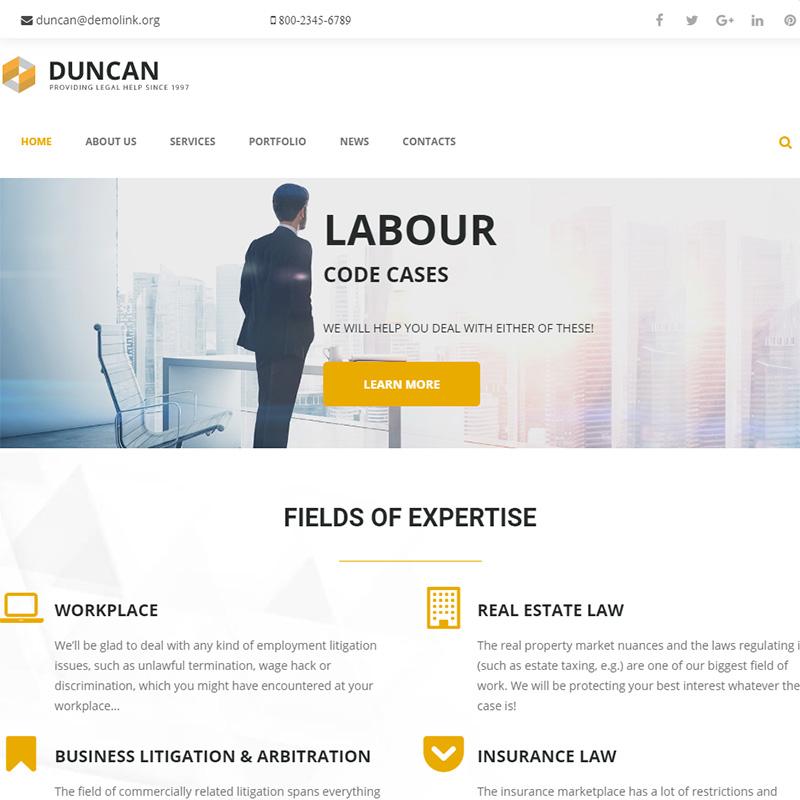Duncan - Lawyer Company Responsive WordPress Theme