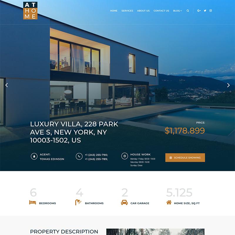 At Home - Real Estate Elementor WordPress Theme