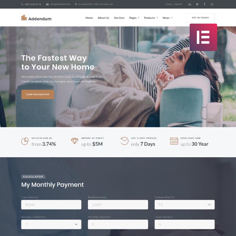 Addendum - Mortgage Company Elementor WordPress Theme