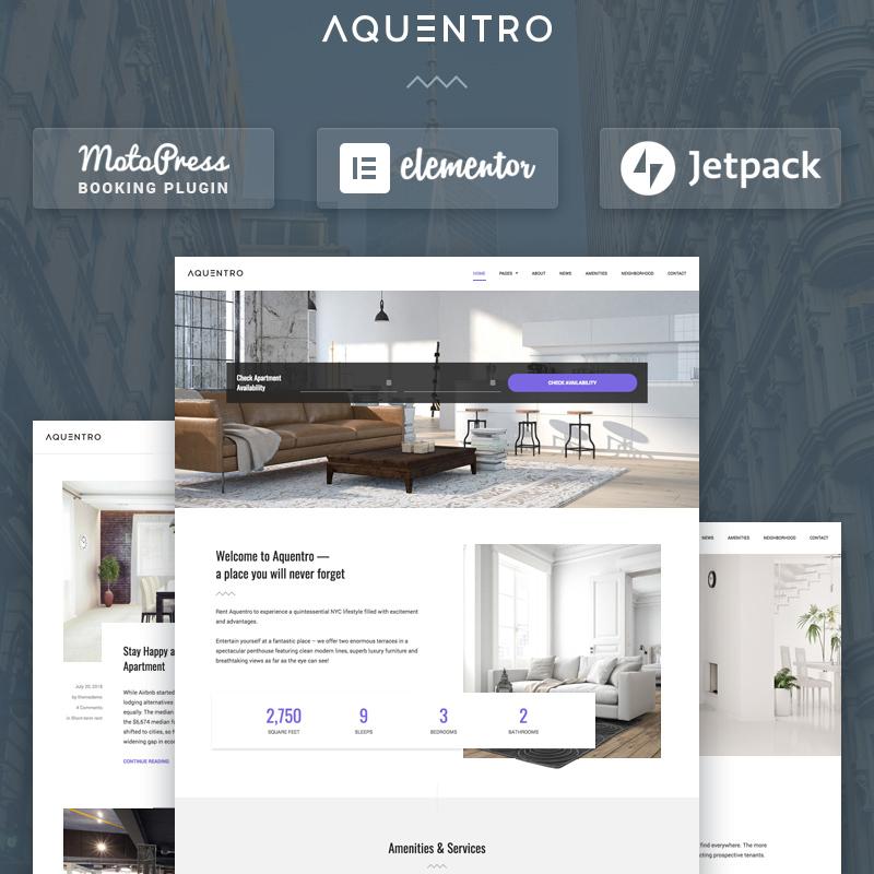 Aquentro - Single Property Rental WordPress Theme