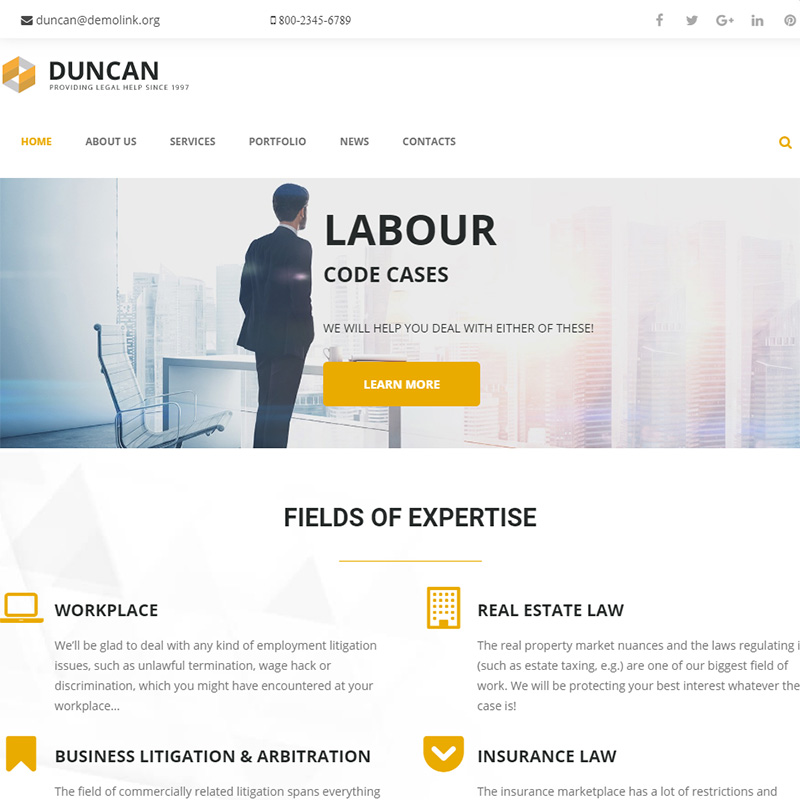 Duncan - Lawyer Company Responsive WordPress Theme