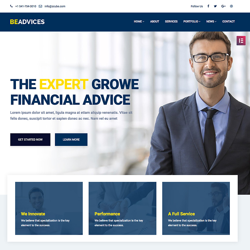 Beadvicese - Business and Financial WordPress Theme WordPress Theme