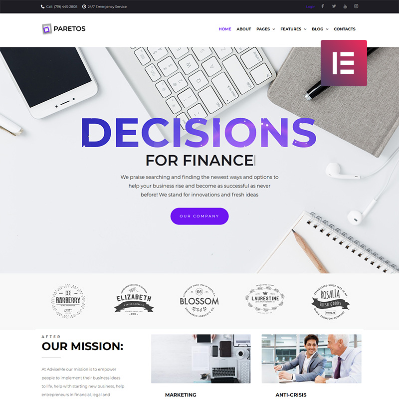 Paretos - Business Services Elementor WordPress Theme