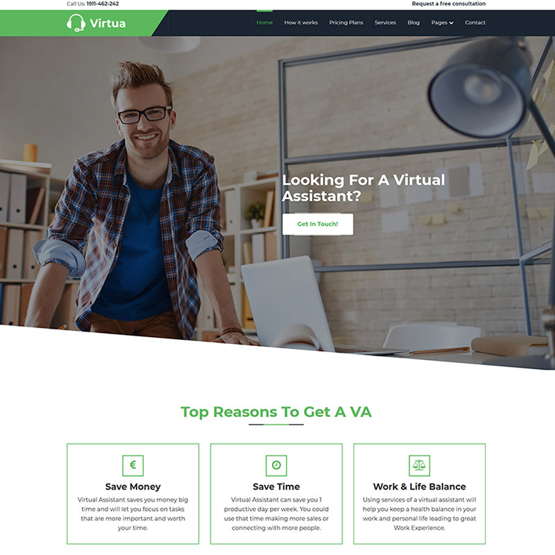Virtua - Virtual Assistant WordPress Theme
