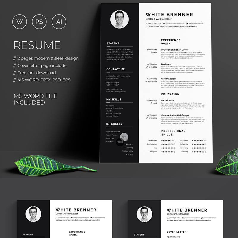 Minimal White Brenner - Resume Template