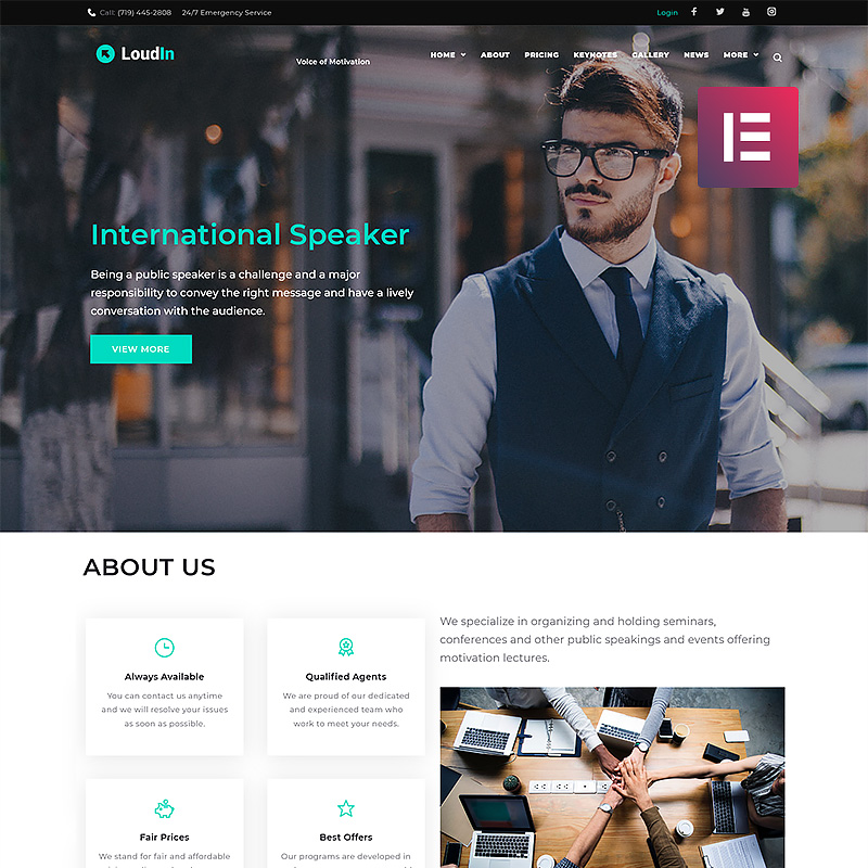 Loudin Public Speaking Elementor WordPress Theme