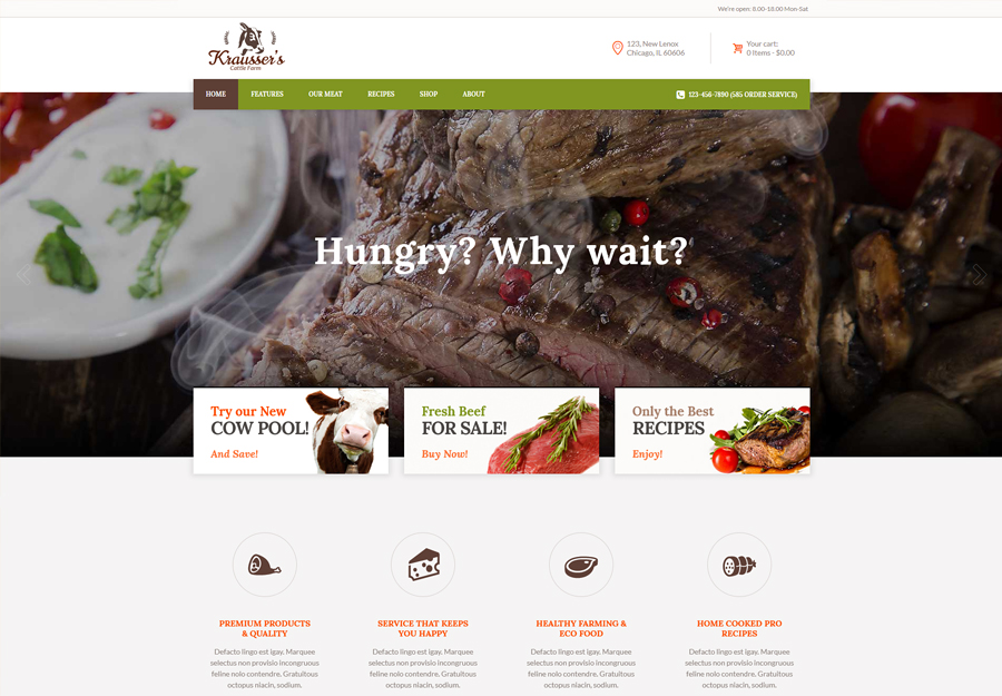 Krausser's | Cattle Farm & Produce Market WordPress Theme