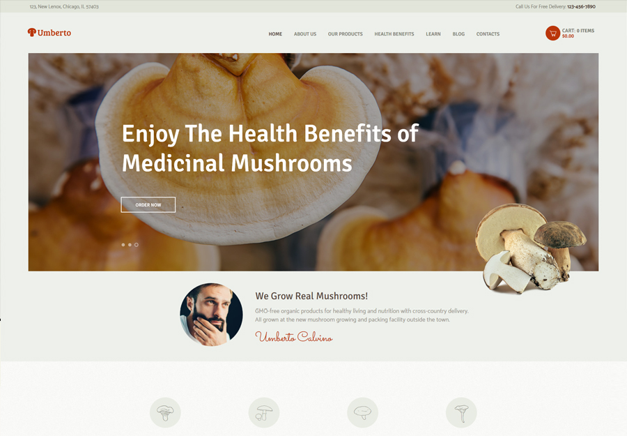 Umberto - Mushroom Farm & Organic Products Store WordPress Theme