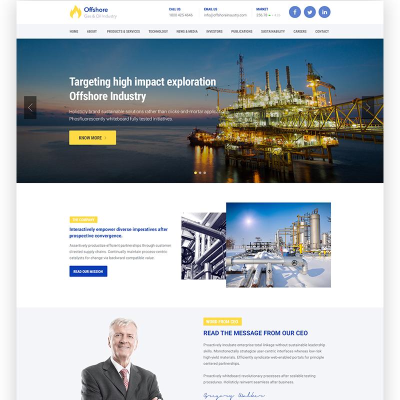 Offshore Industrial Business Responsive WordPress Theme
